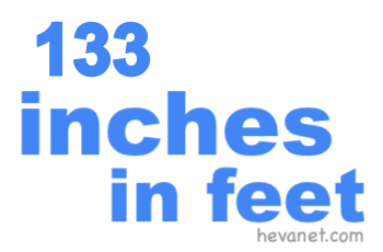 133 inches in feet