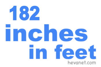 182 inches in feet