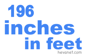 196 inches in feet