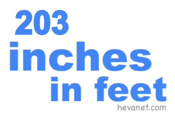 203 inches in feet