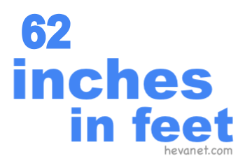 62 inches in feet