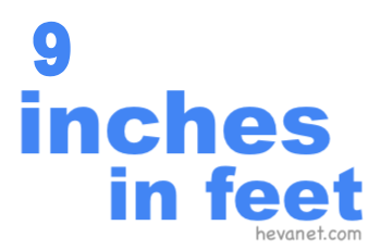 9 inches in feet