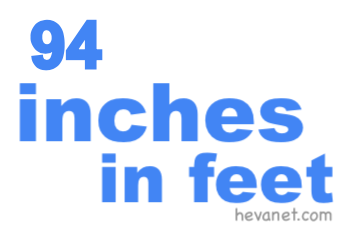 94 inches in feet